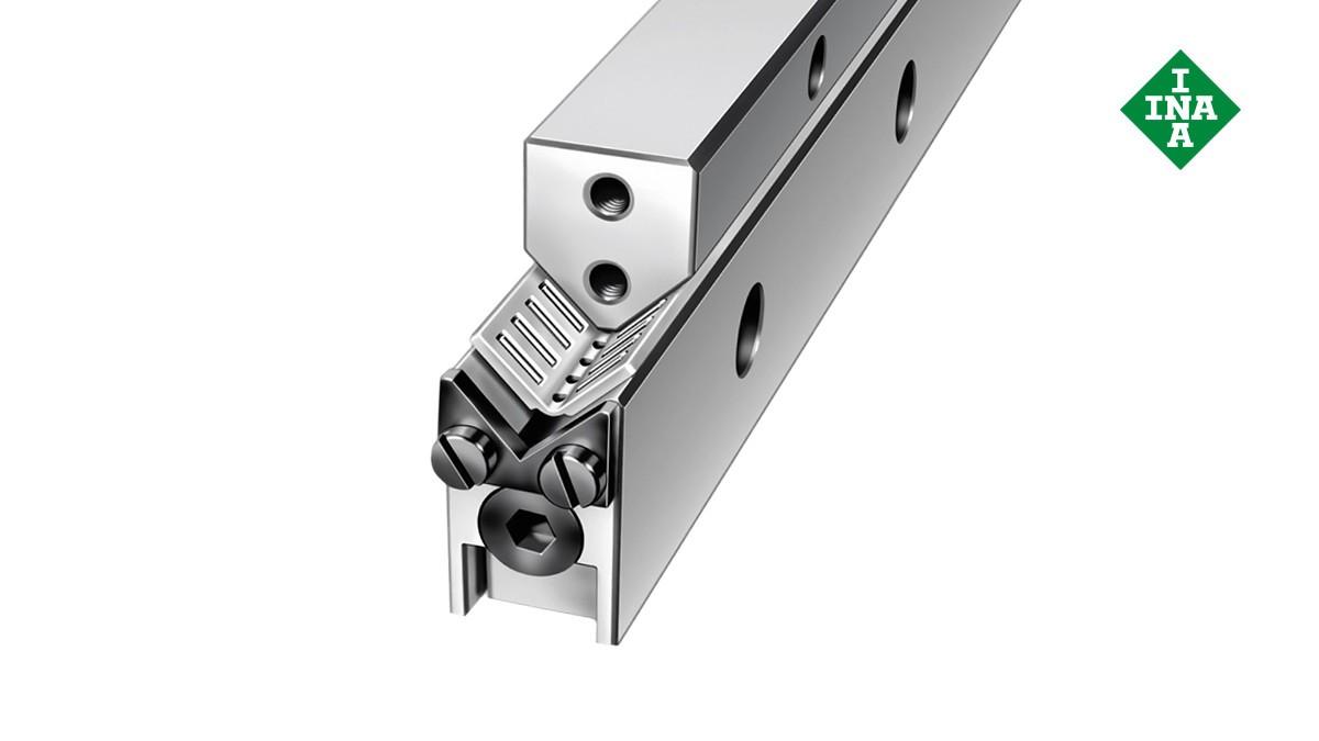 Schaeffler-lineairgeleidingen: M/V-geleidingsrails met hoekige/vlakke kooi